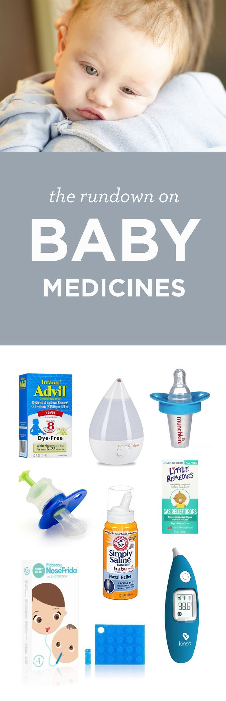 Having a sick baby is the worst. Check out this great list of all the infant medications out there and what symptoms they treat so your baby medicine cabinet is prepared!