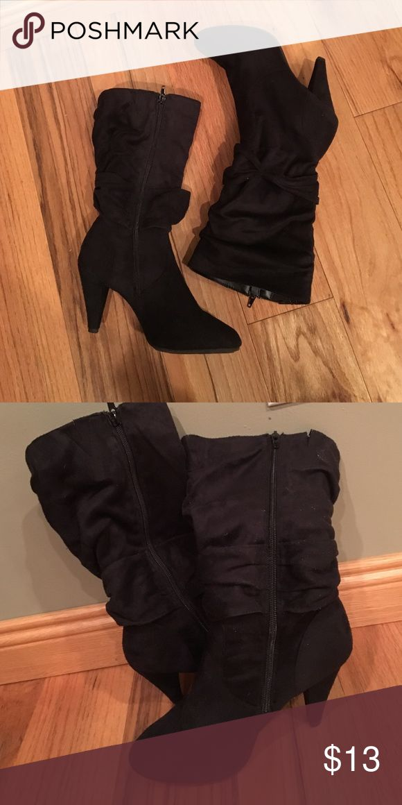 Black faux suede boots Super hot look!  Actually pretty comfortable. The heel placement is a little off so that is why I am listing them for so cheap. Might not be an issue for you! Shoes Heeled Boots