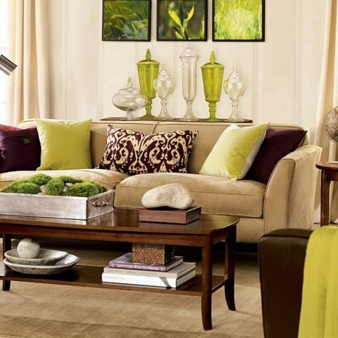 living room and kitchen decorating ideas | Green and Brown Living Room Decor - Interior design