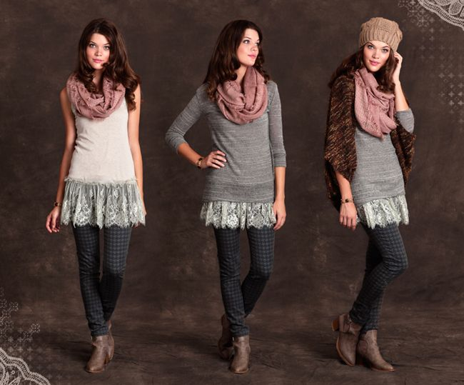 Ideas for lace or tulle trimmed long tanks  Love the middle look on the top...not necessarily bottoms.