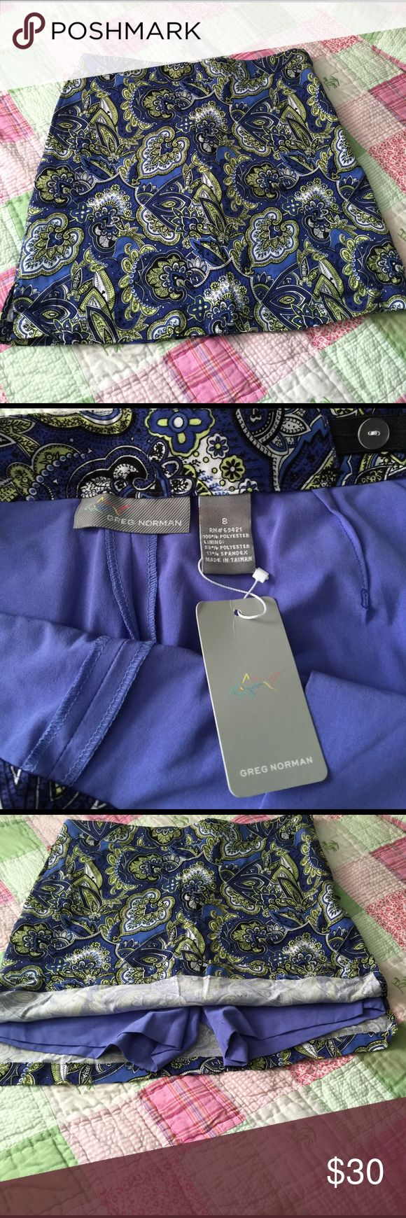 NEW Greg Norman Golf Skirt/Shorts NWT Greg Norman Ladies Paisley Golf Skirt/Shorts size 8 👩 Greg Norman Shorts Skorts