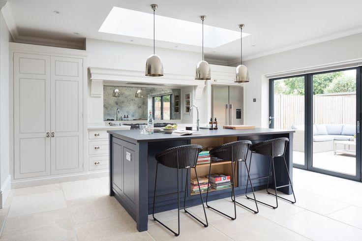 Contemporary Family Kitchen, Chelmford, Essex - Humphrey Munson Kitchens - Dark blue island, grey cabinetry, metallic lighting