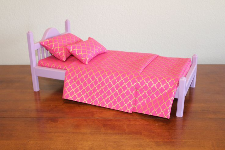 """American Girl bed, Lavender AG bed, AG doll Furniture, 18 inch doll furniture, 18"""" doll bed, 18 inch doll bed, 18"""" bed, doll bed, wood bed by CraftsbyDawnandBob on Etsy"""