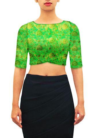Green brocade crop top. Customize further or Design your own now on houseofblouse.com  #saree #blouse #sareeblouse #blousedesigns #desi #indianfashion #india #croptop