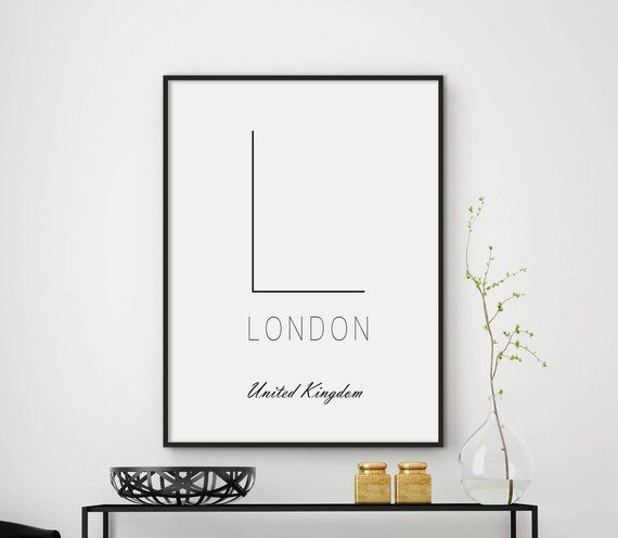 Letter L Wall Decor Letter L Print Typography Black And Etsy London Wall Art City Wall Art City Prints
