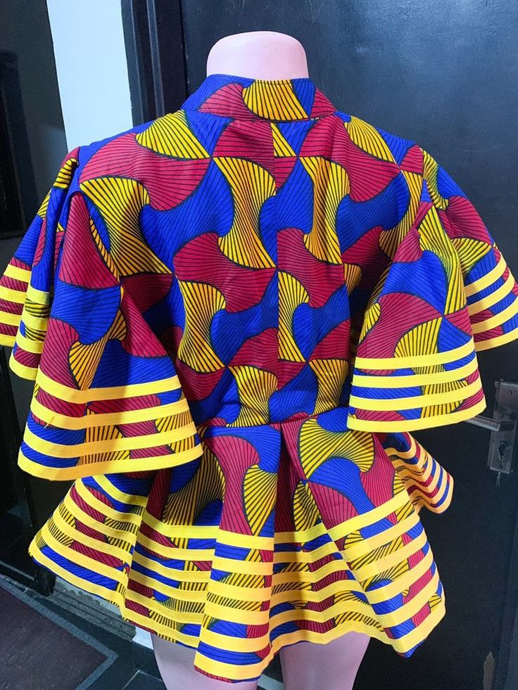 Multi Colour African Print Flare Sleeve Blouse || Ankara Tops, Peplum Tops, Formal Tops, African Clothing, African Party Clothing