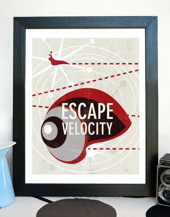 Science Poster Art Print Original Science Illustration - Escape Velocity Science Art - Wall Art // lines, scientific, texture, layers