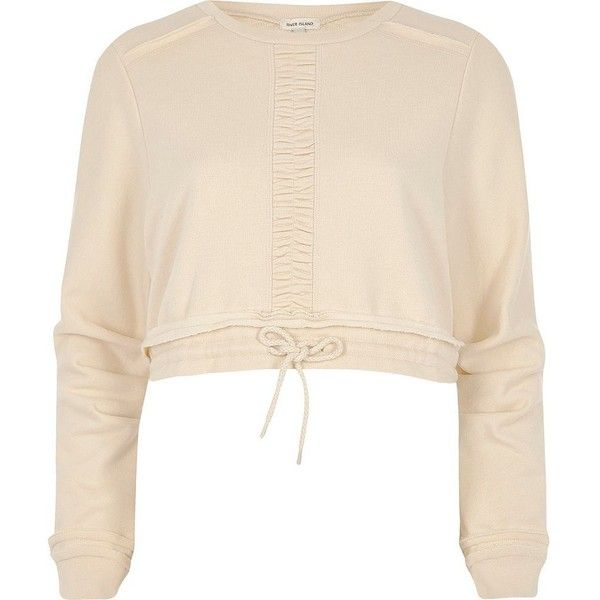 River Island Light beige ruched cropped sweatshirt (255 BRL) ❤ liked on Polyvore featuring tops, hoodies, sweatshirts, beige, hoodies / sweatshirts, women, long sweatshirt, crew-neck sweatshirts, cropped hoodie and hoodie sweatshirts