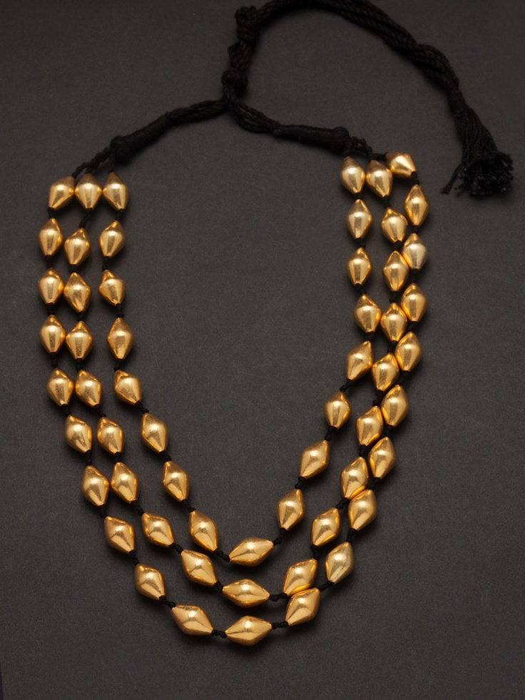 Three layer golden antique necklace-JWNK2608 - Indianmyra - Treasures from India