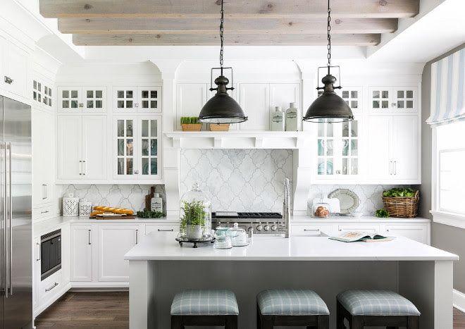 White Farmhouse Kitchen With Bleached Ceiling Beams White
