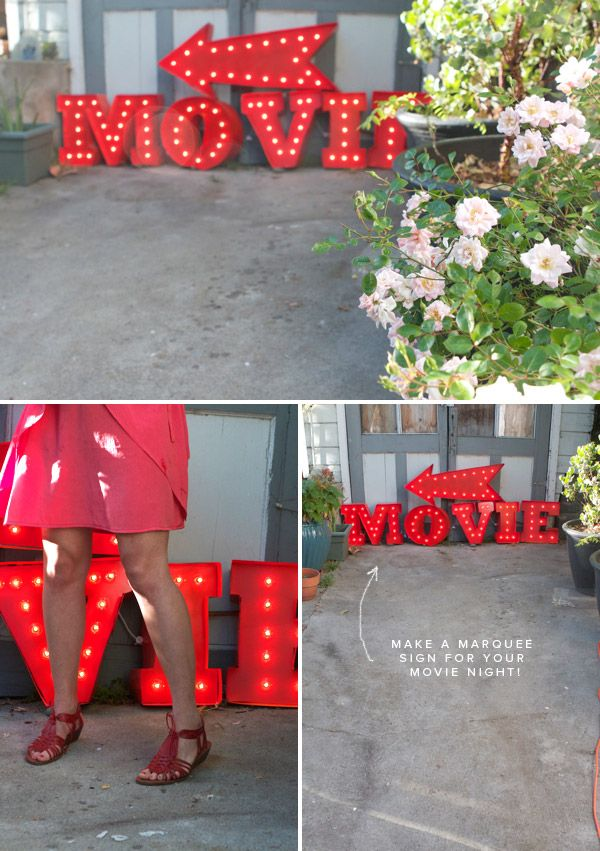 DIY movie marquee sign using foam core and poster board, via oh happy day: Craft, Idea, Vintage Marquee, Marquee Letters, Diy Marquee, Movie Night, Marquee Sign