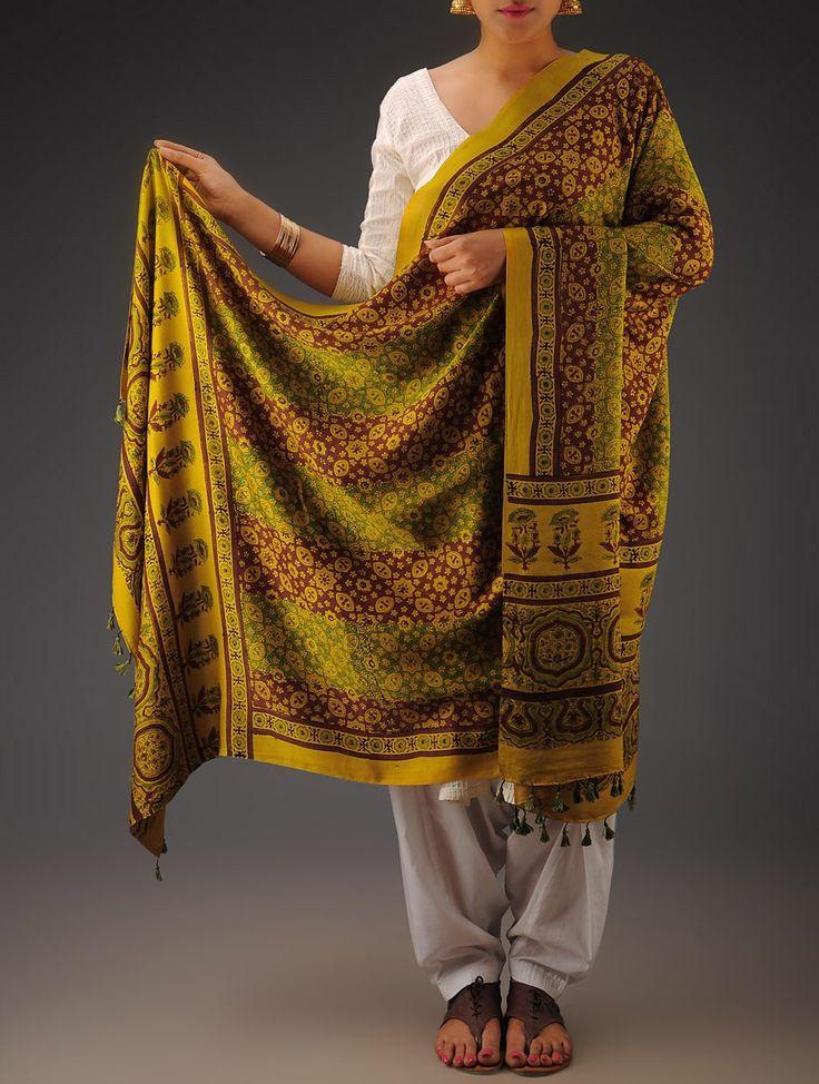 Buy Mustard Green Maroon Gajji Silk Ajrakh Printed Dupatta By Jaypore Silken Imprints Dupattas from Kutch Online at Jaypore.com