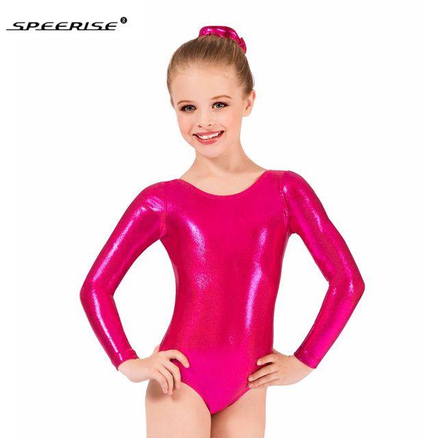 Speerise Metálico Brilhante de Manga Comprida Ginástica Leotard Meninas Spandex One-piece Leotards Bodysuit Trajes de Dança Ballet Crianças