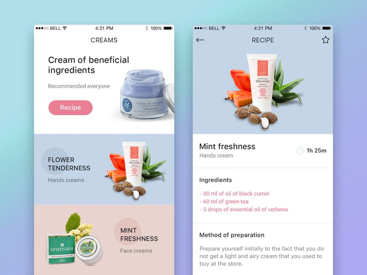 Recipes of creams app by Kristina Vlastjuk for LUFT