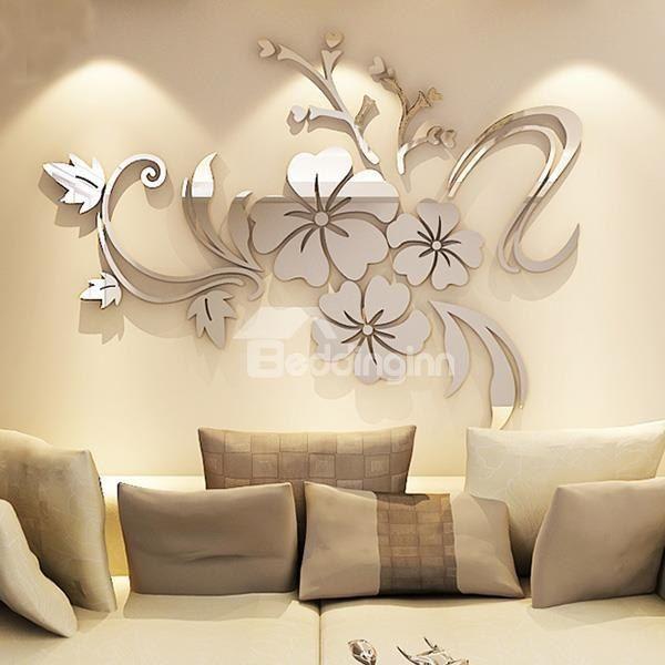Modern Beautiful Mirror Flowers Shape Wall Stickers on