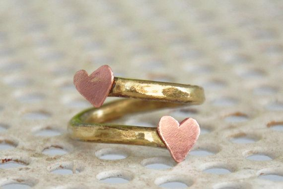 Summer heart ring OOAK handmade brass ring and two by zOOzART, $25.00