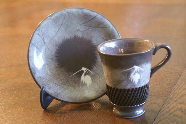 Japanese Porcelain China Tea Set Cup & and Saucer Plate Bird Blue Heron Egret: