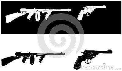 Several gun vector drawings in black and white.
