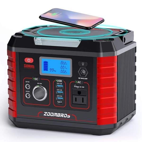 Zoombros 330w Portable Power Station Generator With Wireless Charger And Led Flashlight In 2020 Portable Power Wireless Charger Power Station