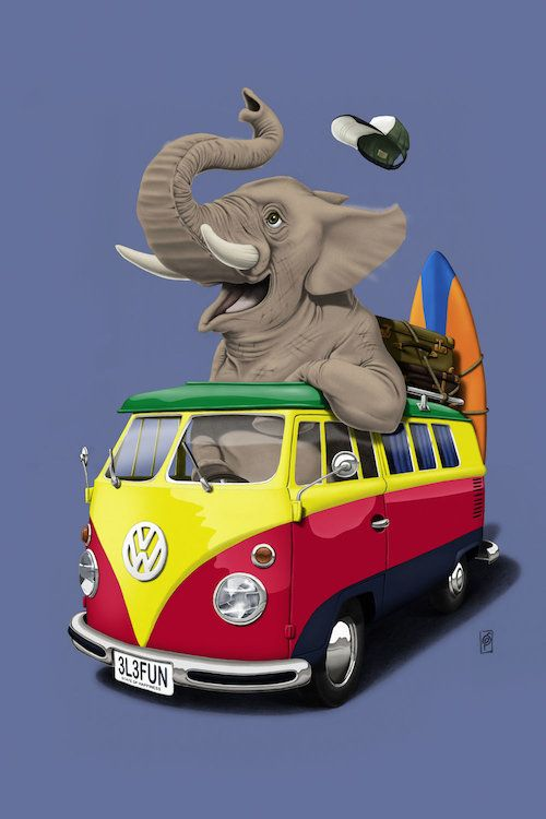 Pack The Trunk (Colour) art | decor | wall art | inspiration | animals | home decor | idea | humor | gifts
