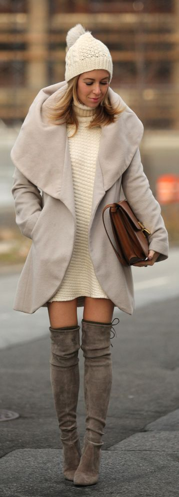 Taupe Suede Back Lace Up Over-the-knee Boots by Brooklyn Blonde