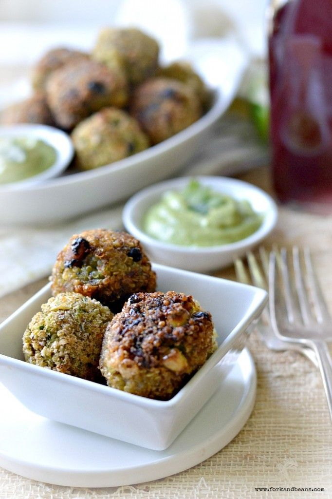 Southwestern Quinoa Bites Recipe with Avocado Dipping Sauce: shallot, jalapeno, zucchini, corn, black beans, flour, flaxseed meal, milk, breadcrumbs, lime