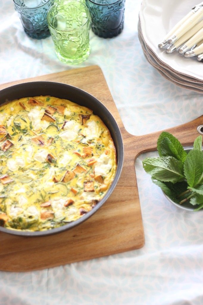 Spring Frittata with Zucchini, Sweet Potato, Peas   Herbs