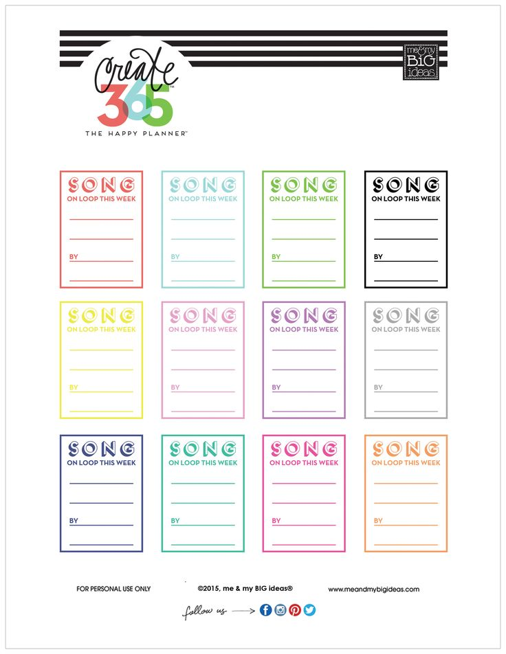 'SONG ON LOOP' free printable for The Happy Planner ...
