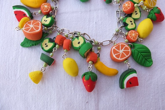 This unique bracelet consists of many fruits that are combined into a fruit mix. It has an extension chain to adjust the size of the wrist. For a even more astonishing look get the Summer Fruit Earrings that have the same style suitable for any age females.