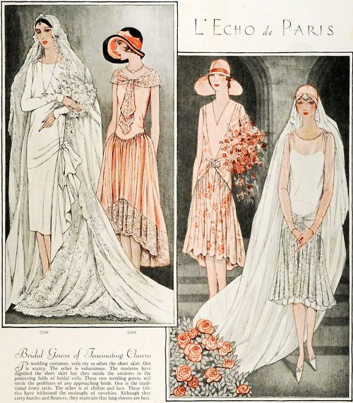 1928 bridal gown and bridesmaid dress sewing patterns, McCalls.