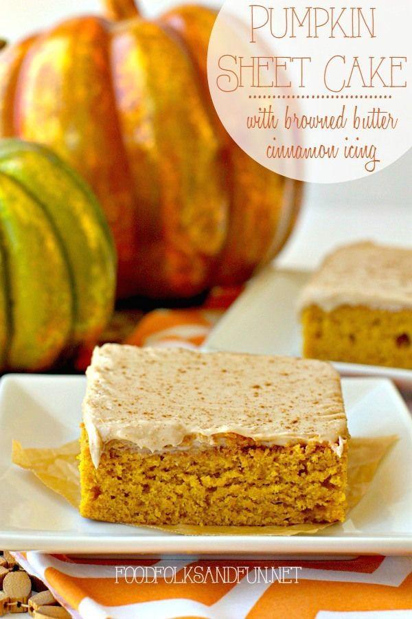 Pumpkin Sheet Cake with Browned Butter Cinnamon Icing recipe | www.foodfolksandfun.net | #pumpkindessert #falldessert  edx