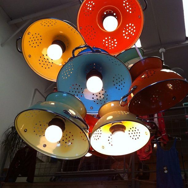 Red Kitchen Inspiration : DIY Strainer Lamp : Colanders turned into fun lighting for the kitchen