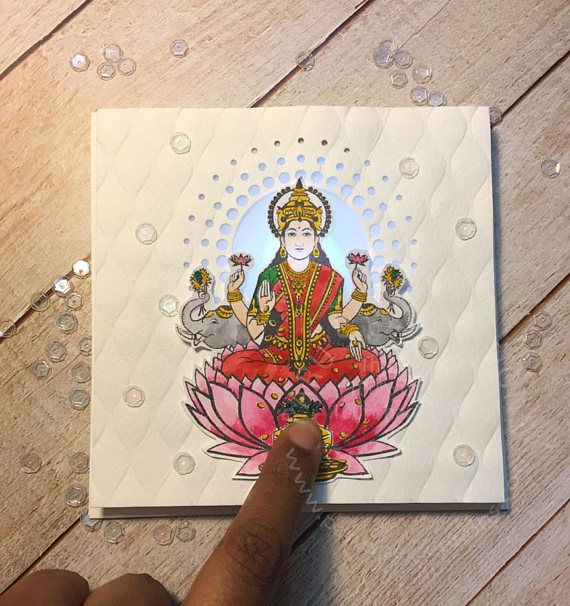 Ganesh/Lakshmi light up greeting card.