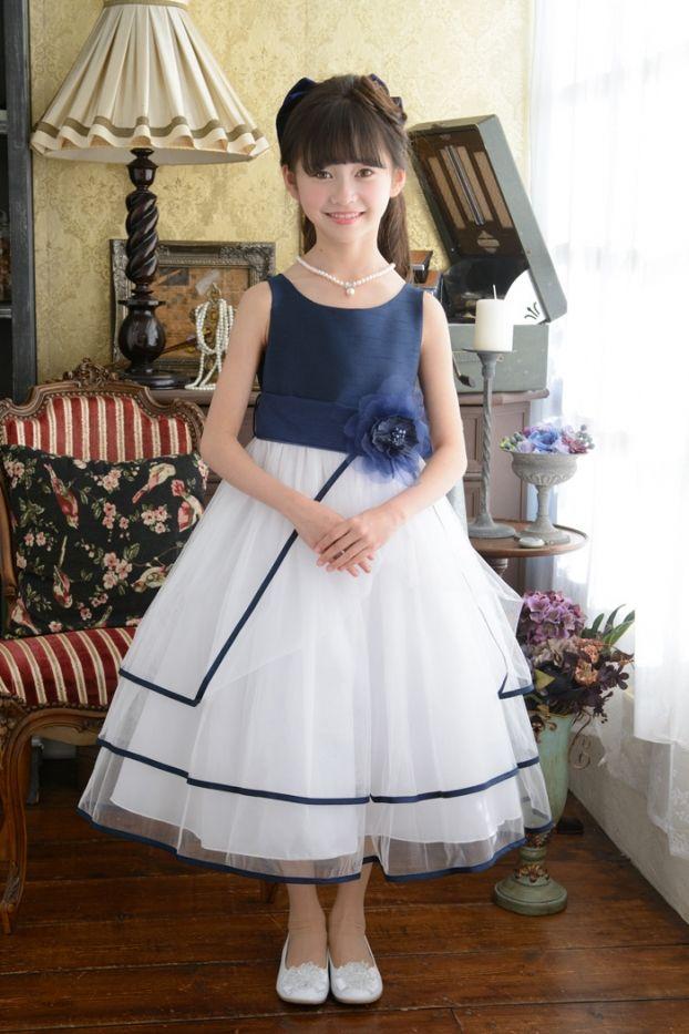 子供ドレス 発表会 結婚式 6-1239(160cm)ネイビーブルー