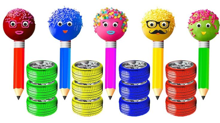 Learn Colors with Pencil Cake Pop Car Tires Xylophone Hammer Finger Fami...