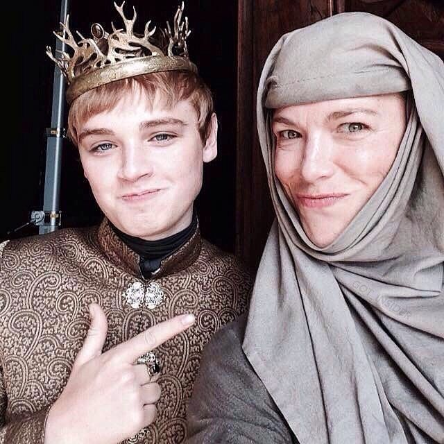 King Tommen and Septa Unella behind the scenes  -