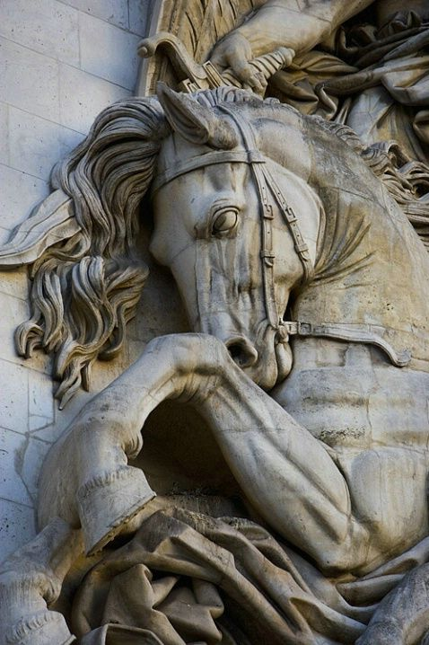 Detail on the Arch of Triumph, Paris, France