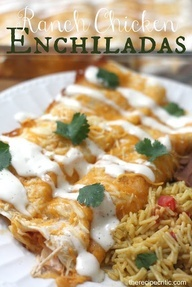 Ranch Chicken Enchiladas. Easy family meal.Ingredients: 3-4 Boneless Skinless Chicken Breasts 1 package chicken taco seasoning 1 package ranch dry salad dressing 1/2 cup bottled ranch 1/2 cup salsa 2 cups shredded cheddar cheese 1 can chicken broth 1 package tortillas Bake at 350 degrees for 30 minutes .