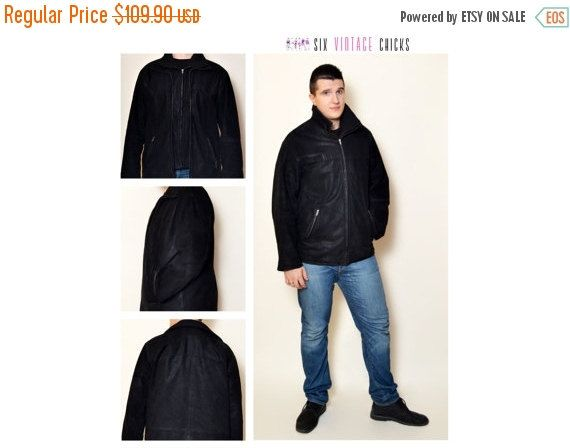 40% Off Xmas Sale Leather Jacket, 90's Black Vintage Jacket, Classic Style Jacket, Vintage men's Clothing Size L/52 Gift idea for him, Free by SixVintageChicks on Etsy