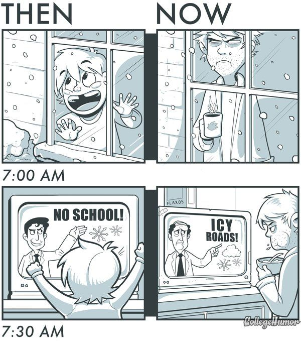 Snow Days: Then and Now by Caldwell Tanner and Kevin Corrigan - CollegeHumor Article
