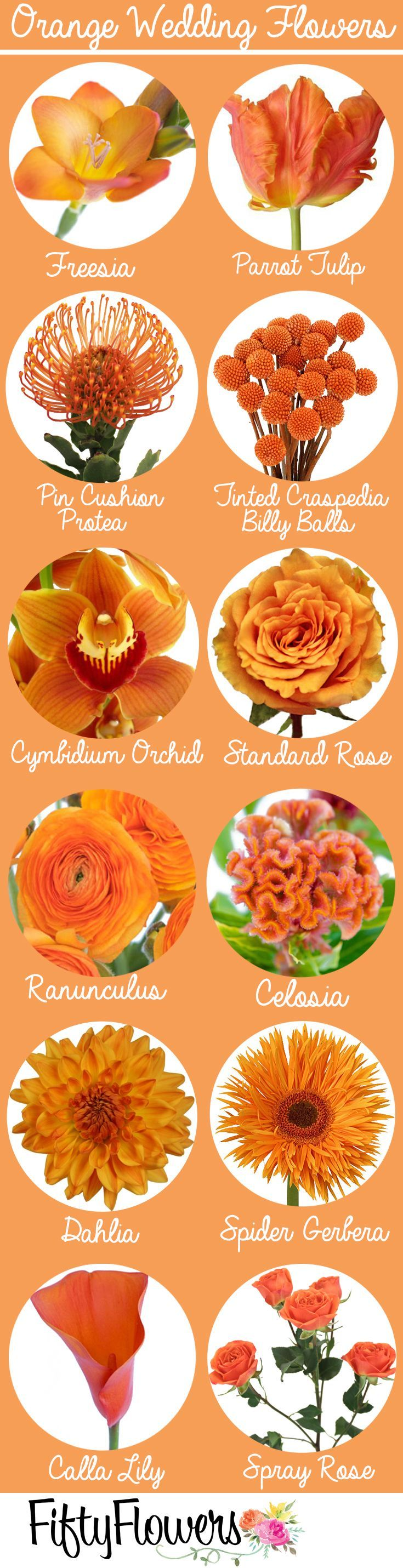 Eye-catching orange flowers for a bold bridal look from http://FiftyFlowers.com!