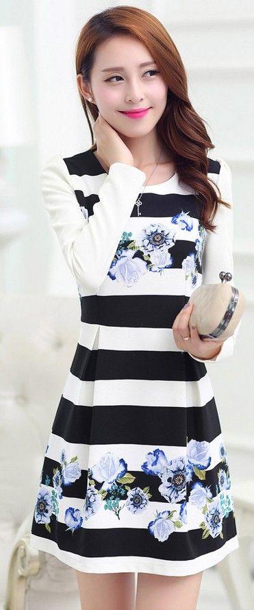 Flower Printed Black and White Stripe Dress YRB0319 £14.90