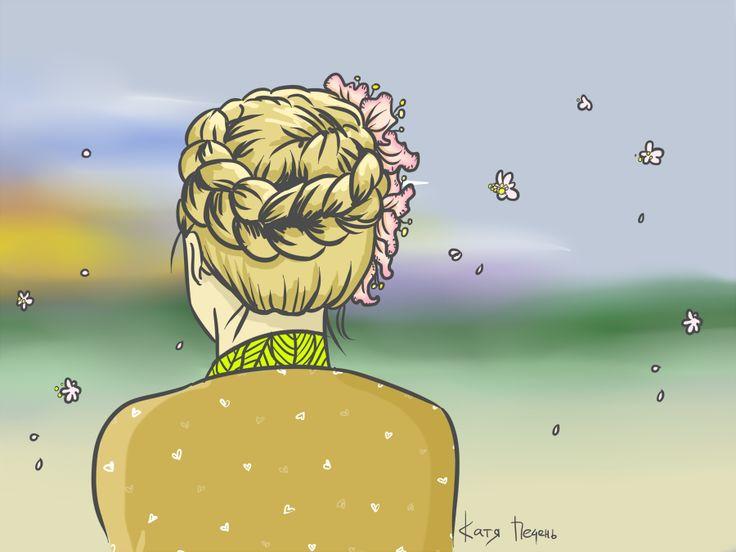 прическа коса, любование закатом