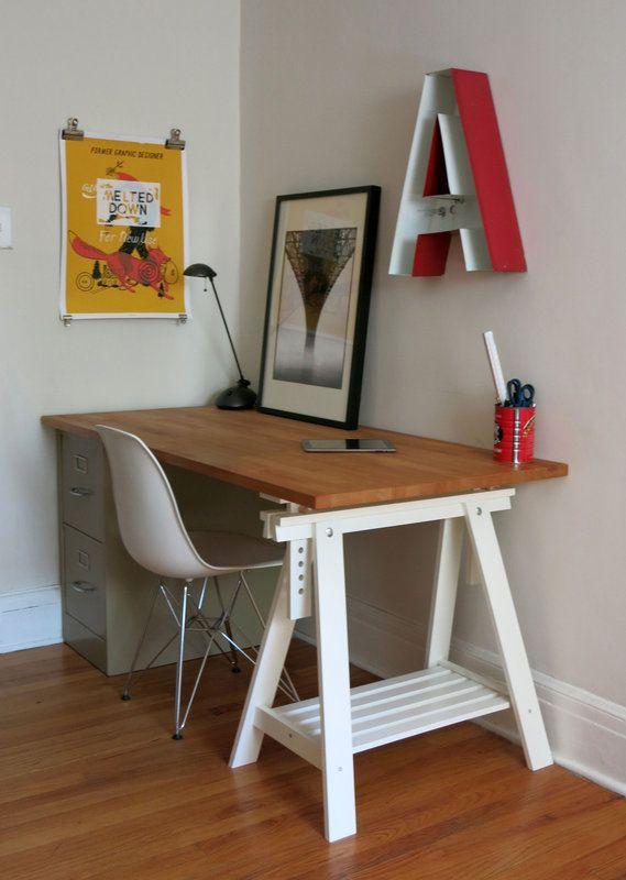 Butcher Block Desk, Trestle U0026 File Cabinet Base