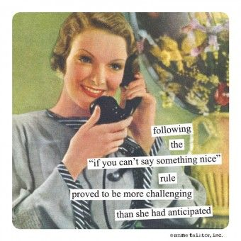"Magnets from Anne Taintor: following the ""if you can't say something nice"" rule proved to be more challenging than she had anticipated"