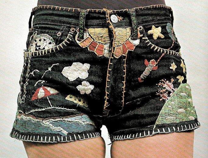 Embroidered jean shorts....let your imagination run wild.