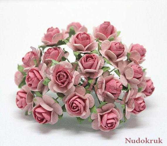 100 Old Rose - Pale Pink  color Mulberry Paper Rose Flower handmade size 1.5 cm. ,scrapbooking