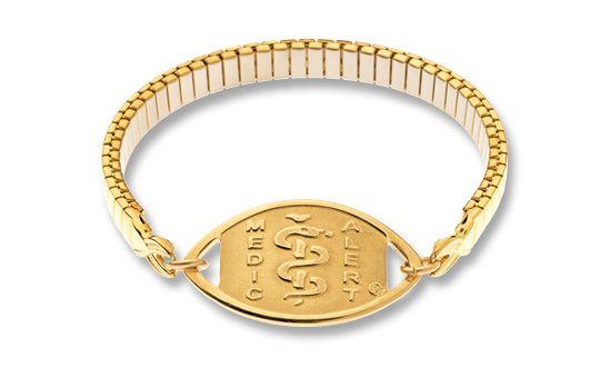 Gold-Filled Emblem & Gold-Plated Expanda Band - Standard Emblem   Australia MedicAlert Foundation #medicalert #medical_ID #medical_bracelet #safety