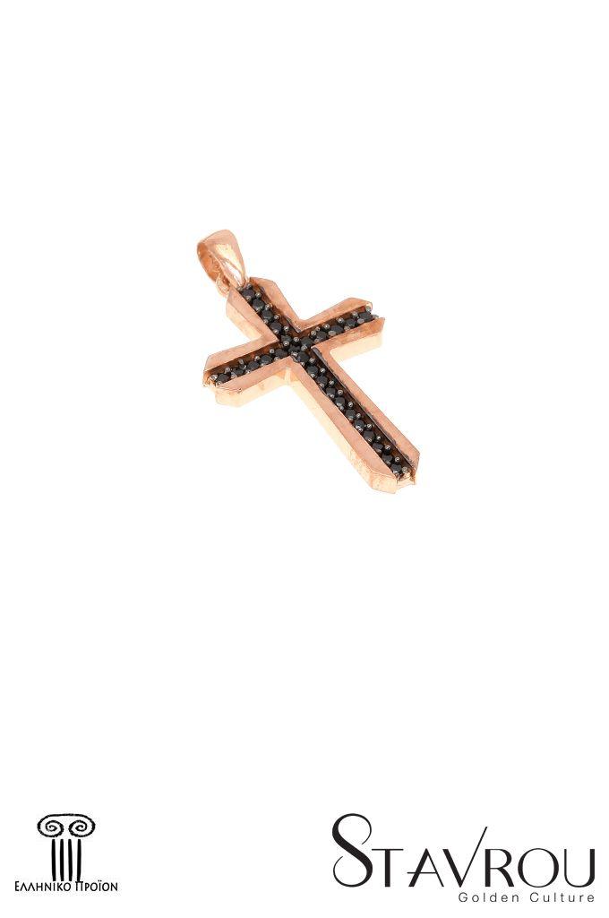 Γυναικείος σταυρός, με μαύρα ζιργκόν, σε ροζχρυσό Κ14  Διαστάσεις : 13.80x 25.40 mm  #σταυροί_βάπτισης #βαπτιστικοί_σταυροί #χειροποίητα_κοσμήματα #γυναικείοι_σταυροί  #σταυροί #σταυροί_με_ζιργκόν