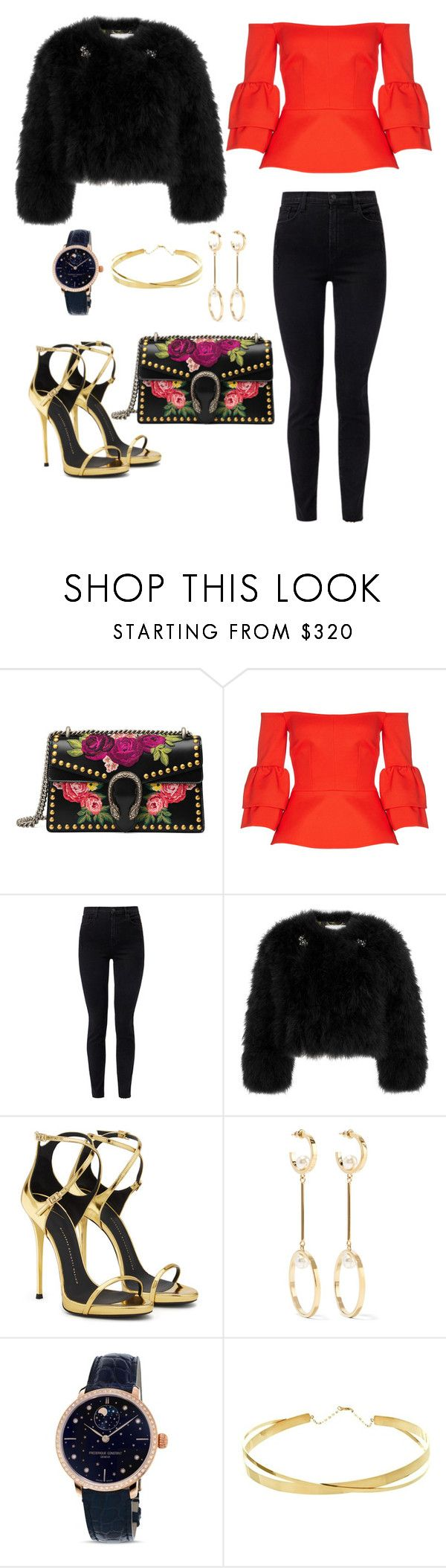 """Untitled #1854"" by rubysparks90 ❤ liked on Polyvore featuring Gucci, Safiyaa, J Brand, Erdem, Giuseppe Zanotti, Chloé, Frédérique Constant and Lana Jewelry"